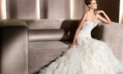 Wedding Album | feather wedding dresses