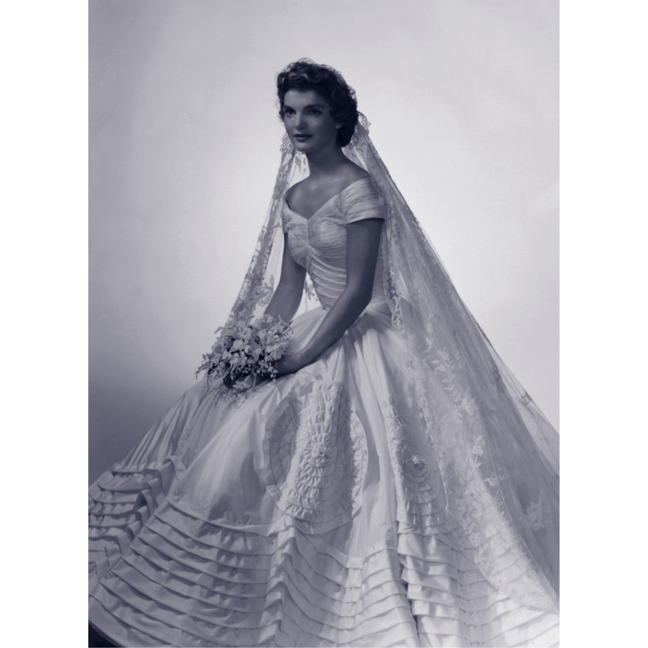 Lasting trends inspired by iconic brides wedding album for Jacqueline kennedy wedding dress