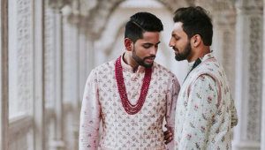 Two grooms have traditional Hindu wedding