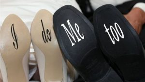 Creative wedding shoe sole decorations