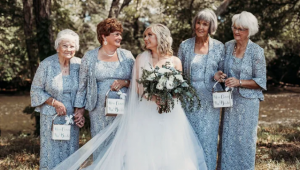 Bride chooses her grannies as flower girls