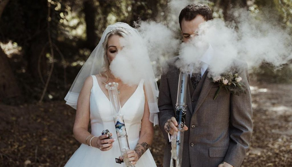 Newlyweds blaze up during wedding photoshoot