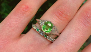 An out-of-this-word stone: Peridot engagement rings