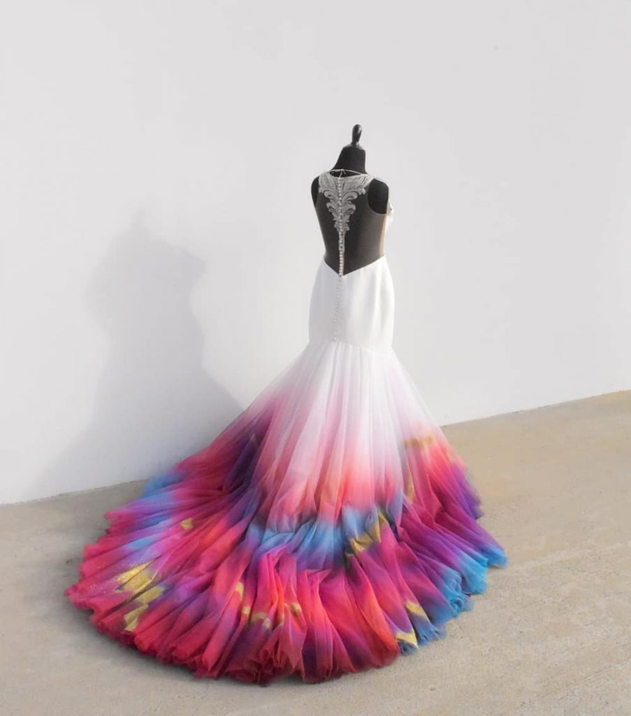 Artist turns wedding dresses into colourful works of art
