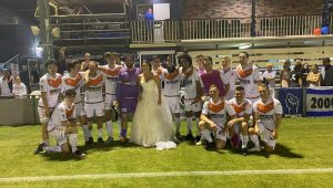 Goalkeeper ties the knot before playing in match on the same day