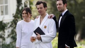 Harry Styles wore a robe to a wedding