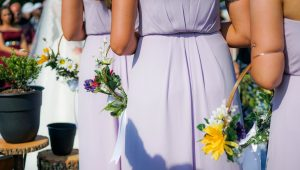 Pretty in purple bridesmaid dresses