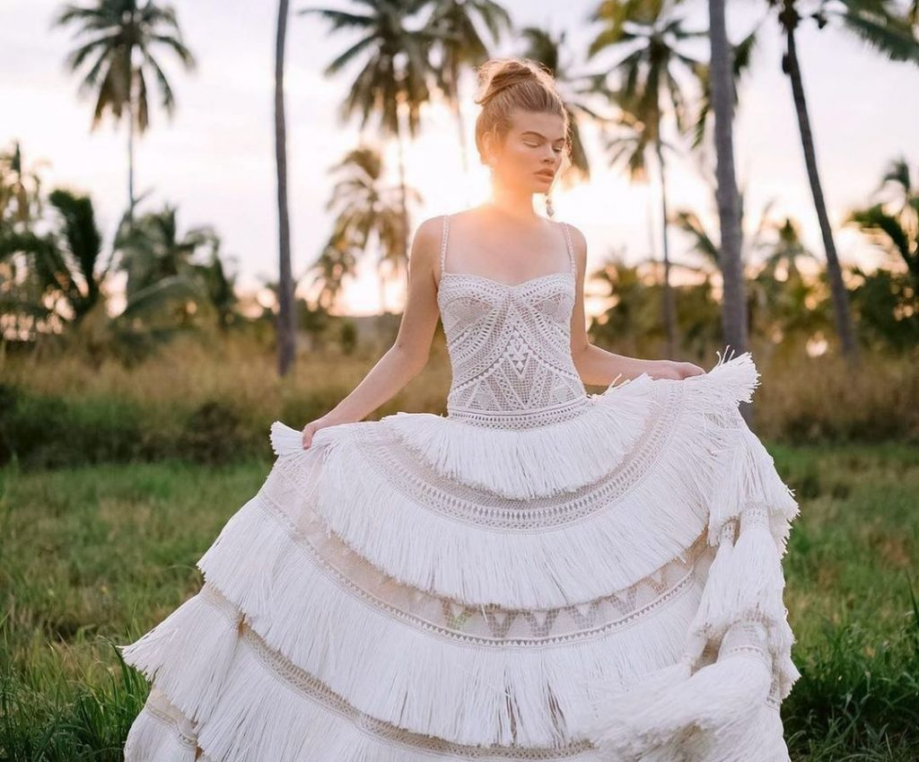 Fancy fringe wedding dresses to get the party started